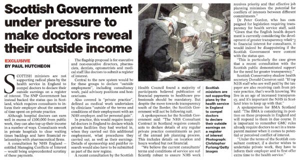 Pharma Compliance Digital CRM Marketing Transparence DMOS Sunday Herald 16 Oct 2016 Scottish doctors 1 e1477492670507 Scottish Government under pressure to make doctors reveal their outside income